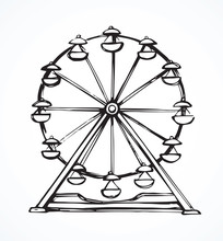 Ferris Wheel. Vector Drawing