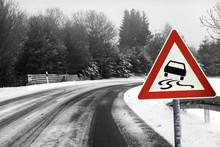 Snowy Curvy Road With Traffic ...