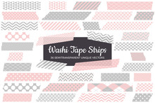 Blush Pink And Gray Washi Tape Strips With Torn Edges & Different Patterns. 36 Unique Semitransparent Vectors. Photo Sticker, Print / Web Layout Element, Clip Art, Embellishment.