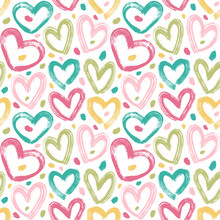 Simple Seamless Vector Pattern With Brush Strokes Hearts And Spots.