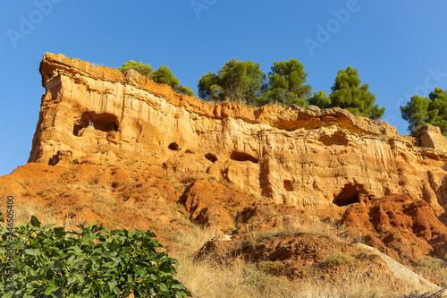 Caves in the mountain - escarpment above Anento village, province of Zaragoza, A Wallpaper Mural
