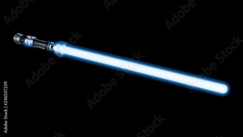 Photo  Laser Sword Spins into Frame and Ignites - 3D Animation.