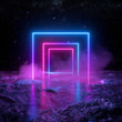 canvas print picture - 3d render, abstract background, cosmic landscape, square portal, pink blue lines, neon light, virtual reality, energy source, blank space, ultraviolet spectrum, laser show, smoke, fog, ground