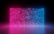 canvas print picture - 3d render, abstract background, glowing dots, screen pixels, neon lights, virtual reality, pink blue spectrum, vibrant colors, fashion podium, laser show, isolated on black, floor reflection