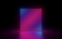 3d Render, Abstract Background, Square Screen, Pixels, Neon Lights, Virtual Reality, Ultraviolet Spectrum, Pink Blue Vibrant Colors, Laser Show Fashion Podium, Isolated On Black, Floor Reflection