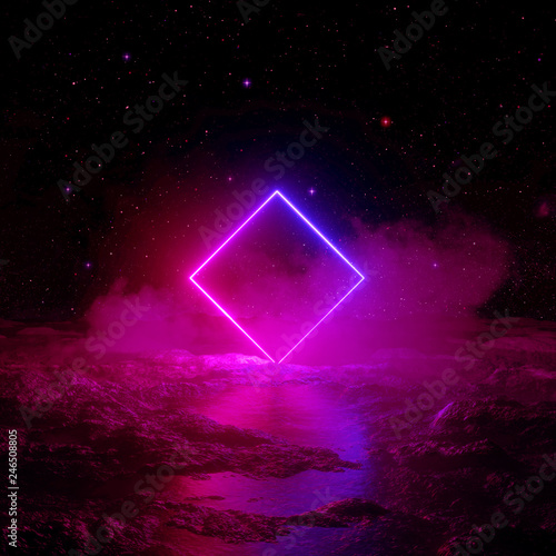 3d render, abstract background, cosmic landscape, round portal, pink blue neon light, virtual reality, energy source, glowing rhombus frame, dark space, ultraviolet spectrum, laser square, fog, ground