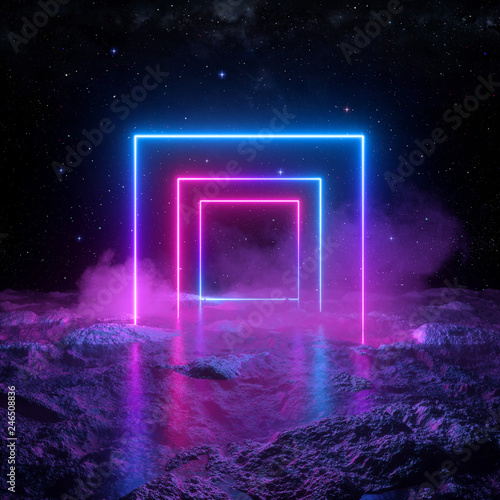 Pinturas sobre lienzo  3d render, abstract background, cosmic landscape, square portal, pink blue lines