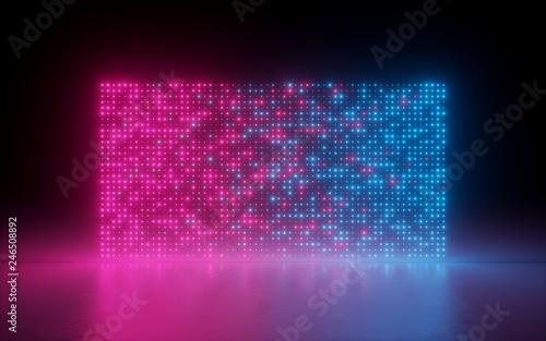 Fényképezés  3d render, abstract background, glowing dots, screen pixels, neon lights, virtua