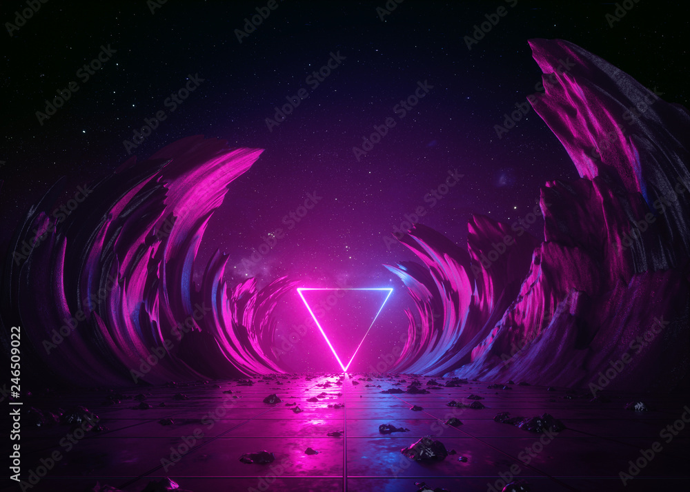 Fototapety, obrazy: 3d render, abstract background, cosmic landscape, triangular portal, pink blue neon light, virtual reality, energy source, glowing quad, dark space, ultraviolet spectrum, laser triangle, rocks, ground