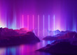 canvas print picture - 3d render, abstract background, cosmic landscape, aurora borealis, pink blue neon light, virtual reality, energy source, glowing laser lines, space, ultraviolet spectrum, mountain rocks, ground