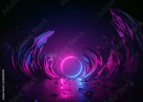 3d render, abstract background, cosmic landscape, round portal, pink blue neon l Fototapeta