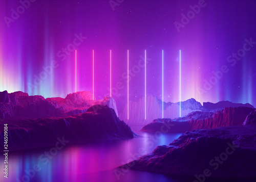 Foto auf AluDibond Violett 3d render, abstract background, cosmic landscape, aurora borealis, pink blue neon light, virtual reality, energy source, glowing laser lines, space, ultraviolet spectrum, mountain rocks, ground