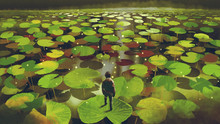 Young Man On Giant Lily Pad Le...