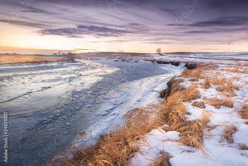 Foto op Canvas Zalm icy river in Minnesota