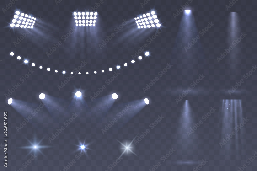 Fototapeta Vector Stadium spotlights. Scene spotlights set isolated on transparent background. Bright illumination. light sources for your design. Glowing stars. Eps 10.