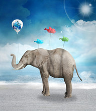 Elephant With Balloon And Origami Birds In A Seascape Scenery - 3D Mixed Media Illustration