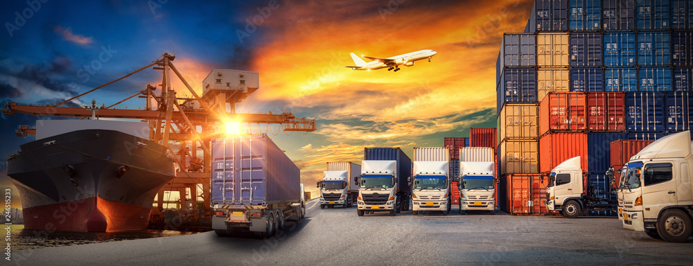 Fototapety, obrazy: Logistics and transportaIndustrial Container Cargo freight ship, forklift handling container box loading for logistic import export and transport industry concept backgroundtransport industry