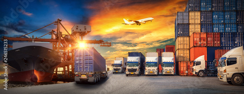 Photo Logistics and transportaIndustrial Container Cargo freight ship, forklift handli