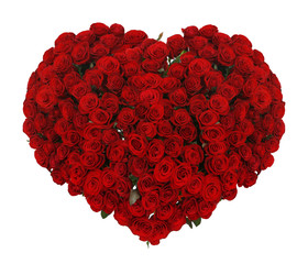 Huge heart made of beautiful red roses on white background