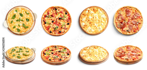 Delicious pizza with tomatoes and sausages on white background