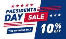 Presidents Day Sale 10% Discount Banner . Vector Template.