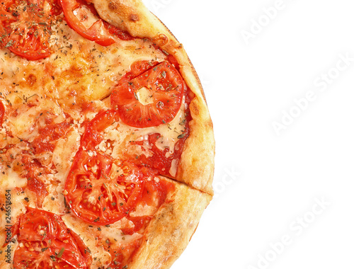 Hot cheese pizza Margherita on white background, top view. Space for text