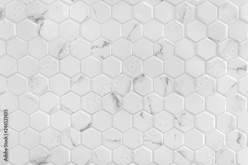 Fotomural  White marble wall with hexagon pattern