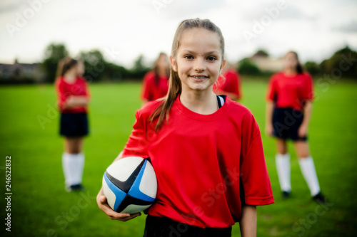 Female rugby player on the field