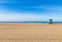 A Lifeguard Hut On Huntington Beach, California, On A Sunny Day