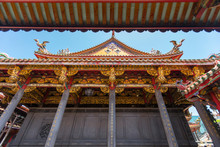 Close Up Detailed Of Elaborate Architecture Of Longshan Temple In Taipei, Taiwan