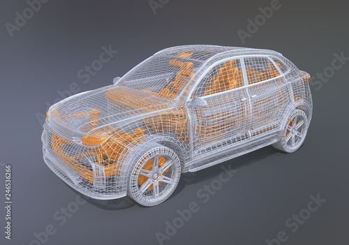 Foto  Silver and yellow wire frame of electric SUV on gradient background