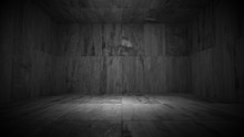 Black And White Dark Empty Grungy Room (3d Illustration)