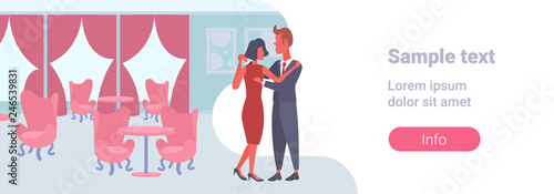 Fototapety, obrazy: elegant couple dancing together man woman lovers modern restaurant interior banqueting luxury hall male female cartoon characters full length flat horizontal copy space