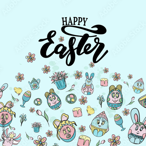 Valokuva  Vector illustration of Happy Easter