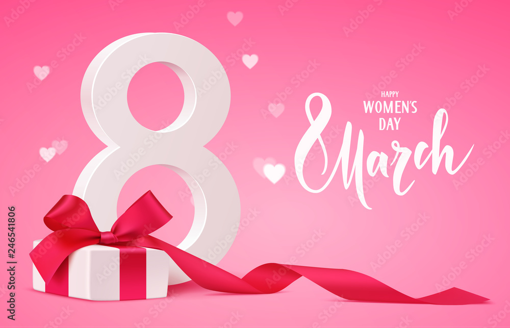 Fototapeta Happy Women's Day design template. 8 march background with gift box and blur hearts. Vector illustration