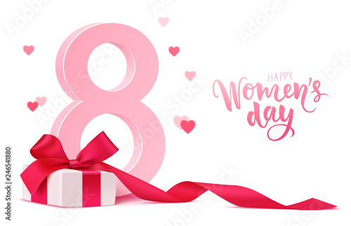 Obraz Happy Women's Day design template. 8 march background with gift box and blur hearts isolated on white. Vector illustration - fototapety do salonu