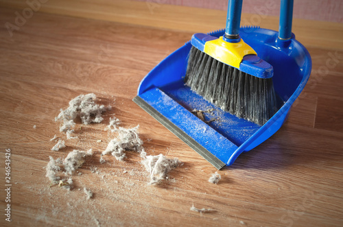Foto Dust on a house floor and floor brush with dustpan background