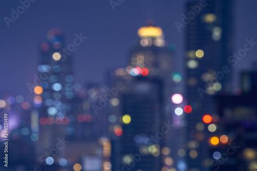 Foto auf AluDibond Aubergine lila lighr of bokeh cityscape background