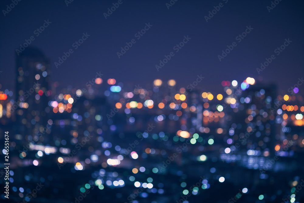 Fototapety, obrazy: abstract night light of cityscape bokeh