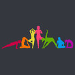 Colorful woman silos in various poses of yoga. Fitness Concept. Gymnastics. Aerobics. Vector illustration