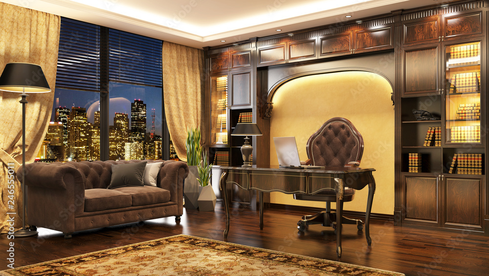 Fototapety, obrazy: Luxurious classic boss office interior with window and sofa.