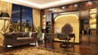 canvas print picture - Luxurious classic boss office interior with window and sofa.