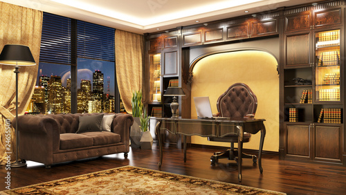 Obraz Luxurious classic boss office interior with window and sofa. - fototapety do salonu