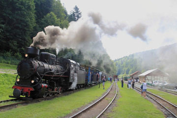 July 18, 2018: Cisna - Majdan, Poland: Bieszczady Railway Station in Cisna - Majdan in Bieszczady Mountains