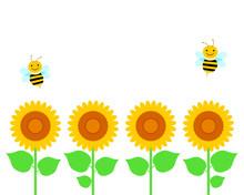 ひまわり畑とミツバチ