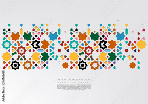 Valokuvatapetti Modern arabesque pattern collection colorful background template vector