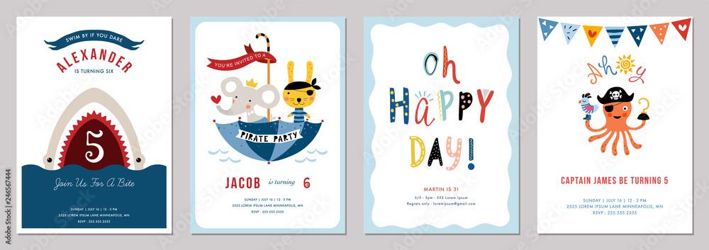 Fototapeta Birthday boy invitation cards set.
