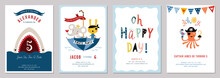 Birthday Boy Invitation Cards Set.
