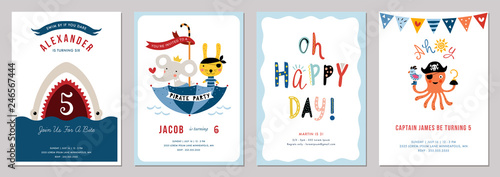 Photo Birthday boy invitation cards set.