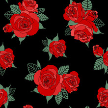 Seamless Floral Pattern. Red Roses On Black Background. Design For Wallpaper,fabric, Textile, Wrapping